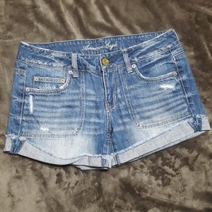 American Eagle Distressed Fray Cut-Off Jean Shorts
